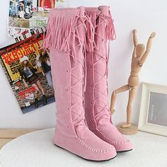 Lsewilly Flock Leather Lace Up Women Fringe Flat Heels Long Boots Woman Spring Autumn Tassel Knee High Boots Plus Size AA224