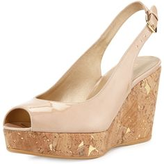 Stuart Weitzman Jean Patent Cork Wedge Sandal ($398) ❤ liked on Polyvore featuring shoes, sandals, bambina, shoes wedges, metallic platform sandals, patent leather wedge sandals, platform shoes, metallic wedge sandals and metallic sandals