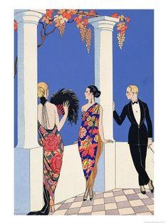1920s, 1922, art deco, barbier, blue, fashion, fashion illustration, fashion plate, feathered fan, floral, george barbier, georges barbier, grapes, illustration, jazz age, le gout de chales, luxury, pochoir, poster, roaring 20s, terrace, tux, tuxed