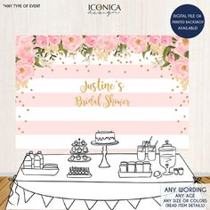 Floral Bridal Shower Backdrop Gold And Pink Dessert Table Banner Any Event Watercolor Flowers Garden Printed Or Printable File Bridal Shower Backdrop, Pink Backdrop, Banner Backdrop, Bridal Shower Decorations, Backdrop Ideas, Bride Shower, Backdrop Background, Girl Shower, Pink Dessert Tables