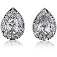 BERRICLE Sterling Silver Pear CZ Halo Wedding Bridal Stud Earrings ($40) ❤ liked on Polyvore featuring jewelry, earrings, clear, sterling silver, stud earrings, women's accessories, sterling silver earrings, stud earring set, cubic zirconia stud earrings and bridal jewelry