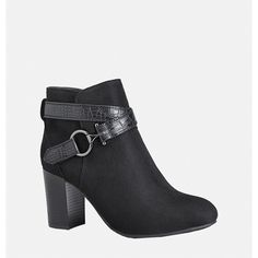 Avenue Cora Sueded Bootie ($55) ❤ liked on Polyvore featuring shoes, boots, ankle booties, black, plus size, ankle boots, black ankle boots, high heel ankle boots, suede ankle boots and short black boots