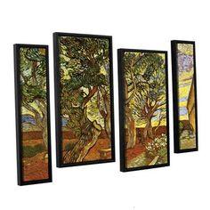 ArtWall A Corner Of Saint-Paul Hospital by Vincent Van Gogh 4 Piece Framed Painting Print on Canvas Set Size: