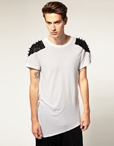 Horace Leather Shoulders T-Shirt With Studs