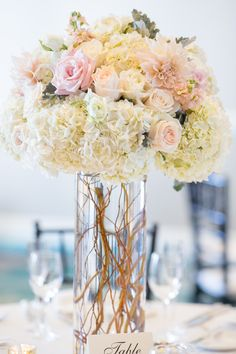 Blush and white tall centerpiece. Dahlias, hydrangea, curly willow, roses, stock, dusty miler -Florals by Jenny -Intertwined Events -Kaysha Weiner Photography -Balboa Bay Club