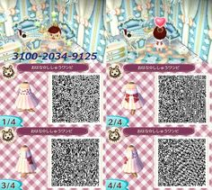 no bad comments or hate please. When AC:NL comes out i will do let's plays and the QR Codes video will post a few times a month. Motif Acnl, Happy Home Designer, Animal Crossing Qr Codes Clothes, Tumblr, New Leaf, Embroidery Dress, Flower Dresses, Cute Animals, Flowers