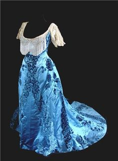 Charles Frederick Worth  Ball Gown 1890-95 front view  this skirt seems to have been reused for another gown  1898   view 1of 4