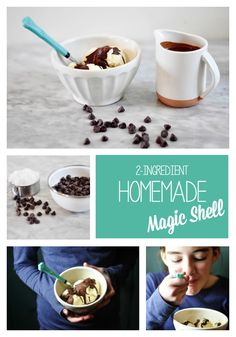 Homemade magic shell recipe with only 2 ingredients. So much healthier than the original magic shell! Homemade Magic Shell, Stuffed Shells Recipe, Semi Sweet Chocolate Chips, Food Now, 2 Ingredients, Ice Cream Recipes, Frozen Treats, Kids Meals, Love Food