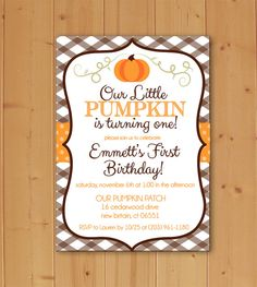 Little Pumpkin First Birthday, Birthday Invitation, Little Pumpkin Birthday…