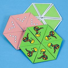 Geometric puzzle: Instructions and patterns for making hexa-hexaflexagons. Flexagons are folded paper polygons   that have the neat feature of changing colors as they are 'flexed'.