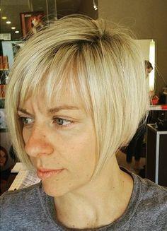 short blonde bob with bangs