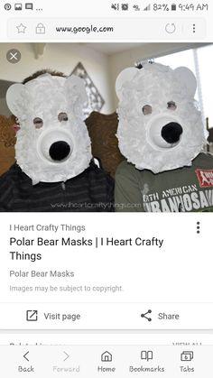 Polar Bear, Teddy Bear, Zoo Crafts, Bear Mask, Mask Images, Crochet Hats, Crafty, Animals, Polar Fleece