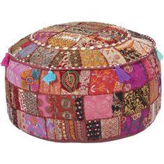 Artisan Weaver Bixby Patchwork Pouf - This is so cute! Pouf Ottoman, Bohemian Decor, Boho Chic, Bohemian Quilt, Floor Pouf, Floor Cushions, Home Accessories, Diy Home Decor, Whimsical
