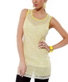 Another great find on #zulily! Yellow-Green Embellished Sleeveless Tunic by Lily #zulilyfinds