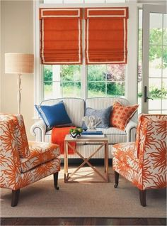 Lovely pop of colour with the tangerine, in this loungeroom