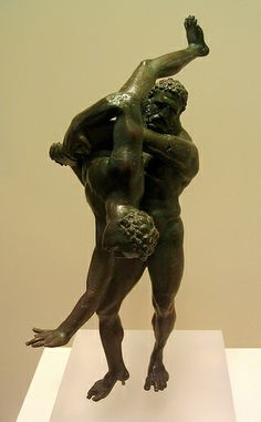 Herakles and Antaeus Bronze statuette group From Alexandria,Egypt 2nd-1st BCE