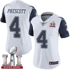 Nike Dallas Cowboys Women s  4 Dak Prescott Limited White Rush Super Bowl  LI NFL Jersey 42d8b10a4
