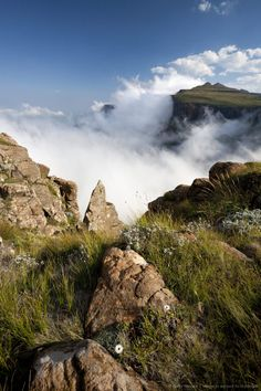 Lesotho, Sani Pass. The border with South Africa in the Drakensberg Mountain range. Clouds roll up the pass.