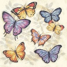 Shop for Butterfly Profusion Counted Cross Stitch Kit. Get free delivery On EVERYTHING* Overstock - Your Online Sewing & Needlework Shop! Crewel Embroidery, Cross Stitch Embroidery, Cross Stitch Patterns, Butterfly Cross Stitch, Butterfly Art, Butterfly Pillow, Vintage Butterfly, Needlework Shops, Counted Cross Stitch Kits
