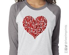 Shown on a Vintage Gray and Heather White Raglan with Red Foil Decoration. Valentines Day Shirts, Valentines Diy, Screen Printing Shirts, Printed Shirts, Heather White, Mommy Style, Valentine's Day Diy, Red Shirt, Vinyl Cutter