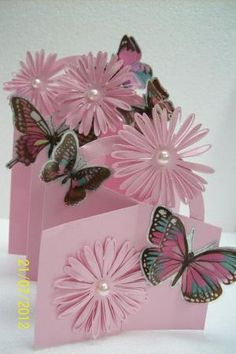 cascading card by angelina Tri Fold Cards, Fancy Fold Cards, Folded Cards, Cascading Card, Cascading Flowers, Envelopes, Step Cards, Interactive Cards, Shaped Cards