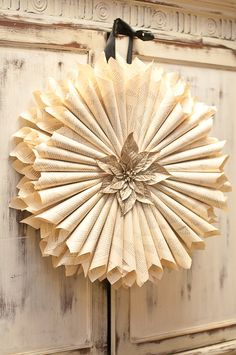 Book Paper Wreath with Gold Poinsettia
