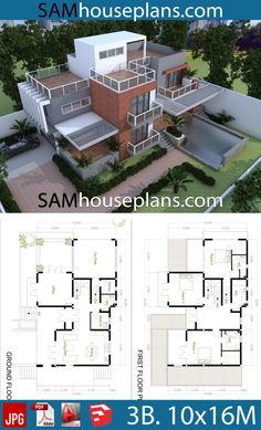 House Plans with 3 Bedrooms - Sam House Plans Sims House Plans, House Layout Plans, Duplex House Plans, Dream House Plans, Modern House Plans, Small House Plans, House Layouts, House Floor Plans, Bungalow House Design