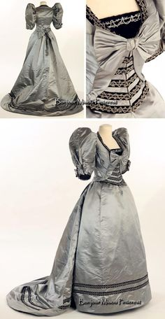 Evening gown, 1893. Blue-gray silk satin trimmed with black velvet and crystal beads. Bows on sides & back of bodice; train. Liberty Hall Museum, Kean Univ., via Historypin
