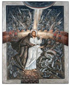 """""""How does a person become bad?─from forgetting that God is over him. Ambrose of Optina Byzantine Icons, Byzantine Art, Religious Icons, Religious Art, Christian Artwork, Biblical Art, Catholic Art, Art Icon, Orthodox Icons"""