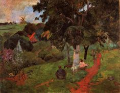 Coming and going, Martinique, 1897, Paul Gauguin  Size: 72.2x92 cm  Medium: oil on canvas