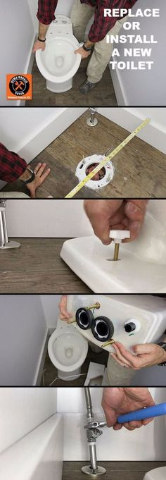 Easy Home Repair Hacks - Replace A Toilet - Quick Ways To Fix Your Home With Cheap and Fast DIY Projects - Step by step Tutorials, Good Ideas for Renovating, Simple Tips and Tricks for Home Improvement on A Budget Home Remodeling Diy, Home Renovation, Remodeling Companies, Bathroom Renovations, Home Improvement Projects, Home Projects, Toilet Step, Diy Home Repair, Home Repairs