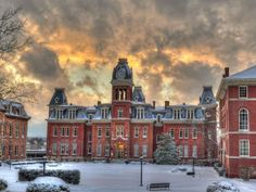 Sunset and snow: Parting clouds created a dramatic scene over West Virginia University in Morgantown last weekend.