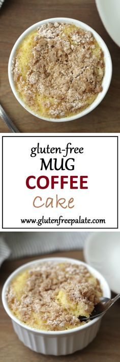 How about a Gluten-Free Mug Coffee Cake for breakfast? It's ready in less than five minutes and it's tender. This gluten free mug cake recipe uses minimal ingredients and it's still tender the next day. Gluten Free Deserts, Gluten Free Sweets, Gluten Free Breakfasts, Gluten Free Cakes, Foods With Gluten, Gluten Free Cooking, Gluten Free Recipes, Paleo Dessert, Dessert Oreo