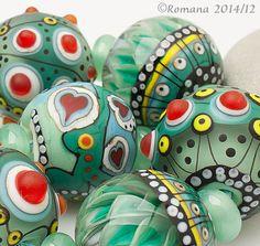"Artisan Lampwork Beads - ""Christmas hearts""  #ArtisanLampworkBeads"