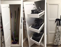 Transform a broom closet into pot storage with rolling pull out drawers.