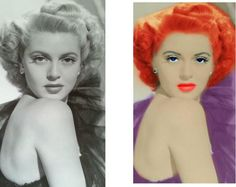 Black and White. Color. Redhead Lana Turner