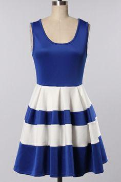 Sleeveless blue and white dress