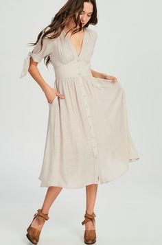 Champagne Short Sleeve Midi Dress