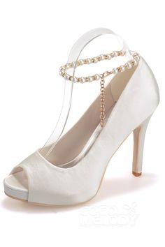 Ivory High Heel 11cm Heel 1.2cm Platform Satin Peep Toe Bridal Shoes SWS16006
