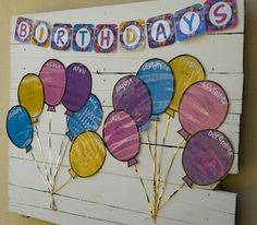BIRTHDAY BULLETIN BOARD DISPLAY WITH FILLABLE BIRTHDAY MONTH BALLOONS - TeachersPayTeachers.com