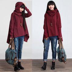 Asymmetrical casual loose cotton t-shirt knitted top por deboy2000