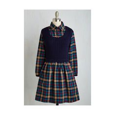 Kling Scholastic Mid-length Long Sleeve A-line Smart of Something New... ($75) ❤ liked on Polyvore featuring dresses, apparel, fashion dress, multi, flannel dress, blue dress, blue flannel dress, shirt dress and long sleeve dresses