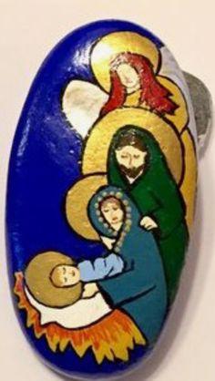 Christmas, Jesus, Mary, Joseph, Angel Religious Painted Rock