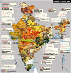 Indian and Italian Cuisines: 6 Things you Already Know about Italian Food Can Help you Understand Indian Cuisine - Indian+Cuisine+Food+Map - Popular Indian Food, Indiana, Food Map, Food Food, Comida India, Geography Map, Geography Classroom, Geography Activities, India Facts