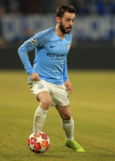 Bernardo Silva of Manchester City runs with the ball during the UEFA Champions League Round of 16 First Leg match between FC Schalke 04 and Manchester City at Veltins-Arena on February 2019 in. Get premium, high resolution news photos at Getty Images Uefa Champions League, Manchester City, Football Players, Messi, Chelsea, England, Posters, King, Running