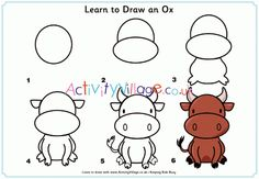 Learn to draw an ox Chinese New Year, Learn To Draw, Ox, Nativity, Scene, Activities, Comics, Learning, Drawings
