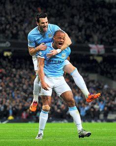 Vincent Kompany and Alvaro Negredo of Manchester City