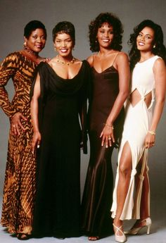 """Waiting To Exhale"" cast: Loretta Devine, Angela Bassett, Whitney Houston, and Lela Rochon Whitney Houston, Black Girls Rock, Black Girl Magic, Black Celebrities, Celebs, Beautiful Black Women, Beautiful People, Beautiful Soul, Loretta Devine"