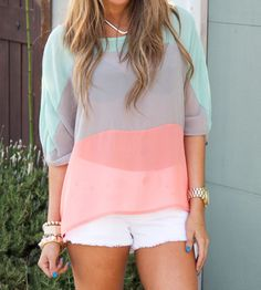 mint, gray, peach  #color