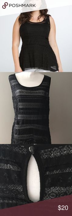 🔥💥PRICE DROP😍Torrid black lace baby doll size 3 Torrid black lace baby doll style top size 3. Worn and washed twice. Very stretchy. Keyhole back closure.   Very good condition. I don't see any pulls or tears. Smoke free pet friendly home. torrid Tops
